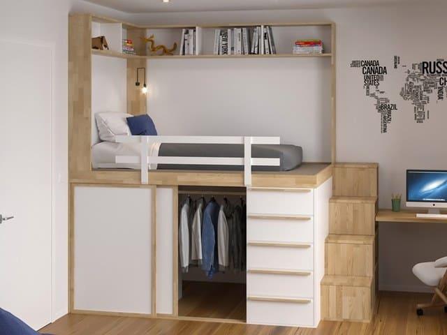 Chiếc giường bậc thang tích hợp ngăn tủ dưới chân