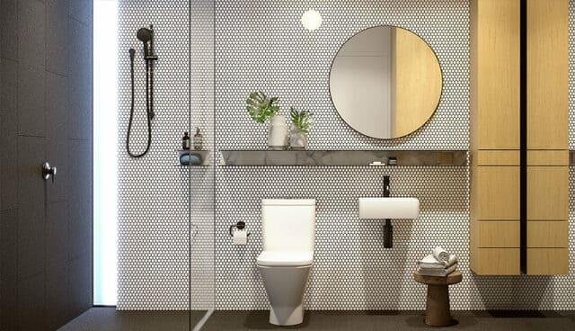 Phòng tắm cửa căn hộ Cirqua BKK Architects Melbourne