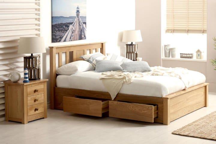 Giường ngủ có ngăn kéo gỗ sồi