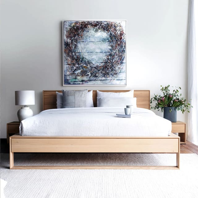 Giường gỗ sồi phong cách Bắc Âu